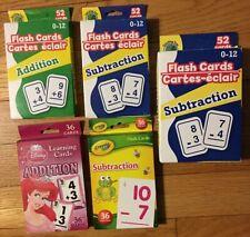 Lot of 5 Packs:Math Flash Cards Addition Subtraction~TeachingTree~Crayola~Disney