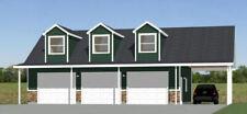 40x30 3-Car Garage with Carport -- 1,894 sqft -- PDF Floor Plan -- Model 10