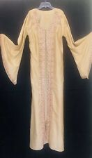 Vtg Sequin Embroidered Kimono Angel Sleeve Long Maxi Duster Pakistán Beige  M/L