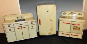 3 Piece Toy Tin Litho Kitchen Set Stove Sink Fridge Marx 1950's Childs Toy