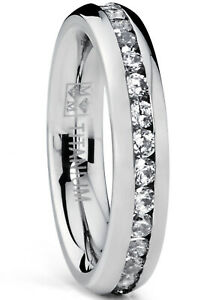 4MM High Polish Ladies Eternity Titanium Ring Wedding Band with Cubic Zirconia