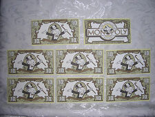 FRANKLIN MINT Collector's Monopoly 1991 Type 2 Replacement MONEY (8) $10.00 Bill