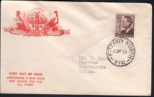 Australia 1951 KGVI  2 1/2d Brown KUFNER FDC to NEYYOOR INDIA (See Back)