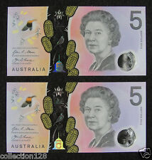 A Pair Australia Polymer Plastic Banknote 5 Dollars 2016 UNC, The Same Number