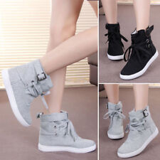 Women Ankle High Top Casual Buckle Lace Up Gym Sports Canvas Flat Sneaker Shoes