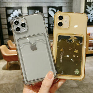 For Samsung A12 A22 A32 A52 A72 S21 Clear Rubber Wallet Card Holder Case Cover