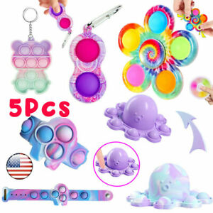 5 Pack Bubble Popit Game Fidget Toys Set Popper Stress Relief Gifts Tools Bundle