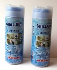 """CHILLOUT Evaporative Cooling TOWEL 33"""" x 13"""" 2 pieces Cool Blue NEW"""