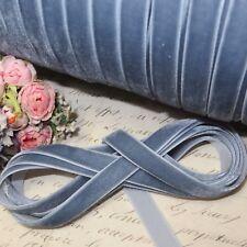 "10y VTG 3/8"" BLUE GRAY VELVET RIBBON TRIM DOLL DRESS ANTIQUE VINTAGE WEDDING"