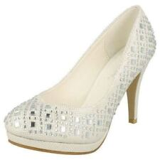 Ladies Jeweled Court Shoes Anne Michelle F9804 UK 4 White Textile