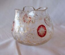 Vintage Daum Nancy French Art Glass Bowl Decorated w Floral Medallions