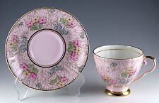 Vintage A.B.J. Grafton China Pink Floral Tea Cup & Saucer Made In England 8338
