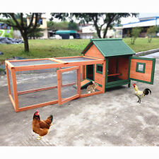 """New listing 72"""" Wood Small Animal Hutch Chicken Coop Hen Poultry Ark House Hutch Run Nest"""