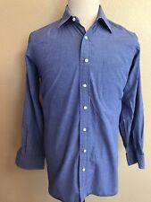 ROBERT TALBOTT Blue Long Sleeve Button Front Dress Shirt Top Men's Size 15.5 /34