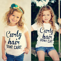 Trendy Toddler Infant Kids Clothes Baby Girls Short Sleeve Letter T shirt Tops