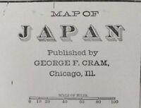 """1903 JAPAN Vintage Map 14""""x22"""" Old Antique Original KAWASAKI KYOTO OSAKA SAPPORO"""
