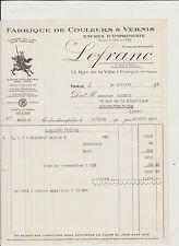 FACTURE ANCIENNE COMMERCIALE/FABRIQUE DE COULEURS-VERNIS/MAISON LEFRANC-ENCRES