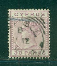 CYPRUS 20a SG17 Used 1882 30pa vio QVIC Wmk Crown CA Die A Cat$28