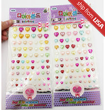 Lot 2 Color Say it in Crystals Heart Acrylic Dot Deco decal Sticker DIY kit cute