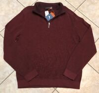 NEW TOMMY BAHAMA Flip side Twill Reversible Half Zip Pullover T211442 Red Brown