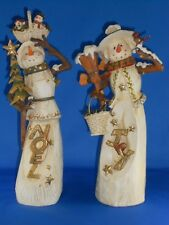 Roman Inc Pair Of Snowman Figurines Noel And Joy Collectibles Beautiful Detail