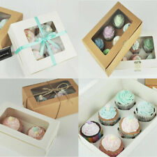 UK 1/10PCS 2/4/6 Holes Muffin Cupcake Package Box Kraft Paper Party Gifts Case