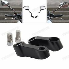 10mm CNC Motorcycle Mirror Mount Riser Extender Adapter Black Aluminum Universal
