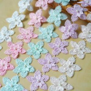 1 yard Flowers Beaded Lace Fabric Trim Sewing Handmade Garment headdress 8cm