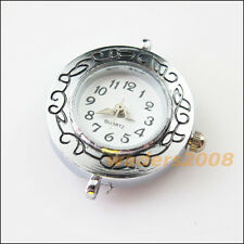 1 New Charms Tibetan Silver Round Pocket Watch Face Connectors 26x29mm