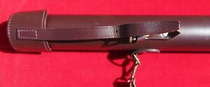Leather Fly Rod Hard Case with Makers Logo handmade rod length up to 52ins. VGC.