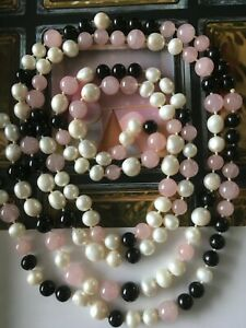 Pink Quartz Onix Pearls Long Necklace