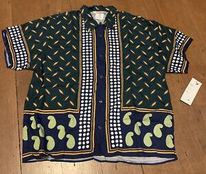 VINTAGE ESPRIT SPORT Rayon Shirt Unisex Indigo Jungle Medium Button Front Collar
