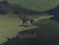 Moonlight Wolf by Frederic Remington, Oil Painting Art Reproduction on Canvas
