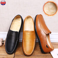 UK MEN REAL LEATHER MOCCASINS SLIPPERS LOAFERS FUR WINTER FORMAL WORK SHOES SIZE