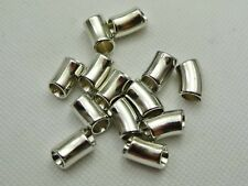 100 Silver Tone Metallic Acrylic Curved Tube Beads Spacer 16X8mm with Big Hole
