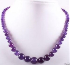 """Lovely!6-14mm Amethyst Round Beads Gemstone Necklace 17.5""""AAA"""
