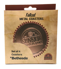 More details for fallout sunset sarsaparilla set of 4 metal coasters - official merchandise - new
