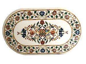 "27""x44"" Beautiful White Marbel Table Tops Multi Paua Shelll Floral Inlaid W063"