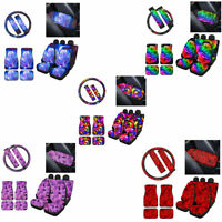 Rose Car Seat Covers Floor Mats Combo Set Armrest Cover for Women 12/14pcs Decor