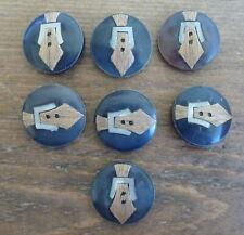 """Vintage Lot of 7 Plastic Metal Wood Inlay Retro Art Deco 1"""" Buttons Necktie Belt"""