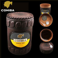 COHIBA Leather Cedar Wood Cigar Tube Case Holder Travel Humidor