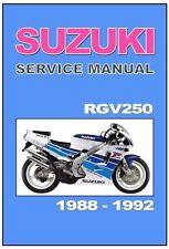 SUZUKI  Workshop Manual RGV250 Gamma 1988 1989 1990 1991 1992 Service and Repair