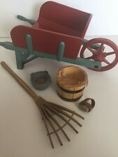 American Girl Felicity Stable 5 Pc Wheel Barrel Rake Bucket Feed Bowl Brush