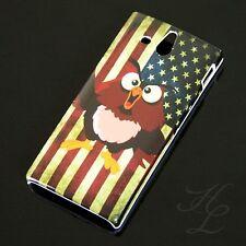 Sony Xperia U/st25i Hard Case Cellulare Guscio Protettivo Astuccio Bandiera USA GUFO OWL