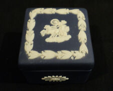 VINTAGE WEDGWOOD JASPERWARE DARK BLUE MINIATURE TRINKET / DRESSER BOX