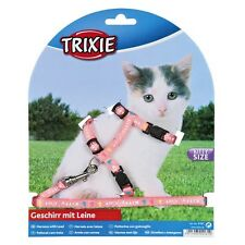 Kitten harness and lead, various colours. snap buckles, kitty cat motif(4181)