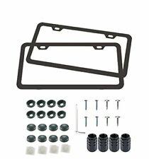 License Plate Frames - Automotive Aluminum Tag Holders 2 Hole Kit, 2pc Black