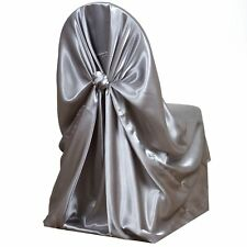 Silver Universal Satin Chair Cover