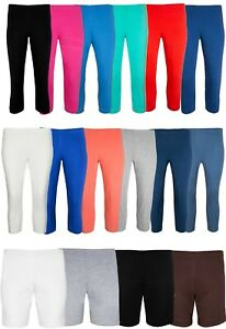 Ladies Casual Cropped Leggings Comfy High Waist Cotton 3/4 Length Trouser/Shorts