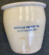 Antique Hawthorn Pa 1 Gallon Stoneware Pottery Crock H.P. Co D Hairline On Bott